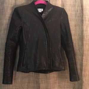 Helmut Lang Asymmetrical leather jacket; Petite